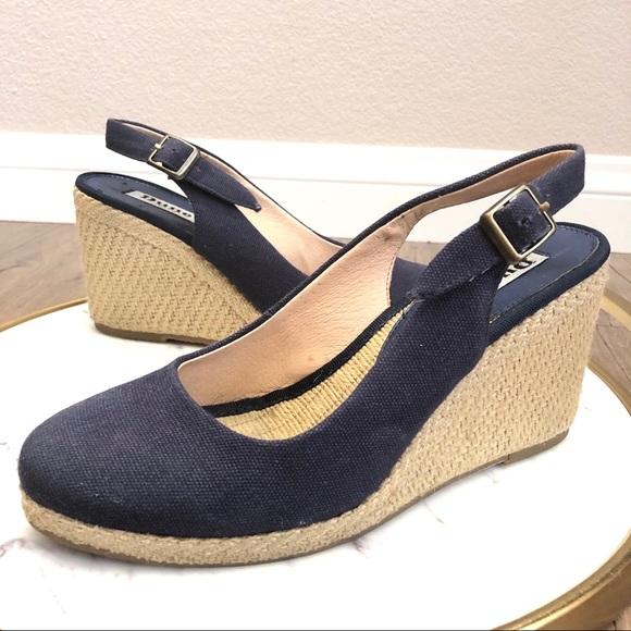44b99029e93 Dune London Shoes - Dune Karley Blue Canvas Wedge Espadrilles Sandals